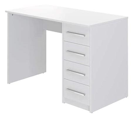 bureau blanc movian avec colonne de tiroir sur le cote