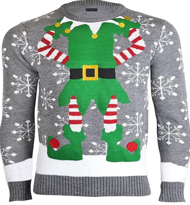 pull de Noel masculin gris et blanc