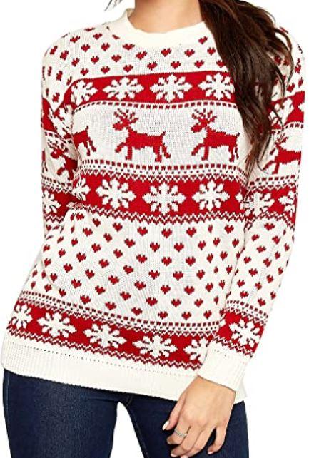 pull de noel blanc et rouge avec flocons