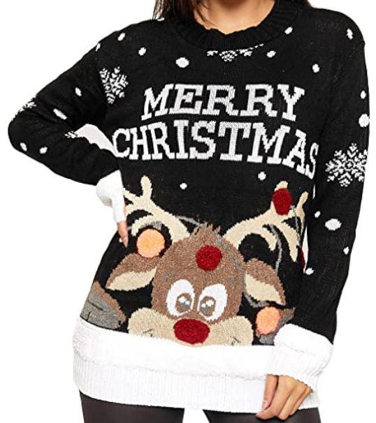pull de noel rouge merry christmas bleu et blanc